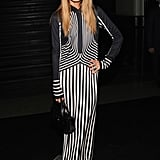 At the Marc Jacobs show, Rachel Zoe was also feeling stripes in a black and white maxi dress.