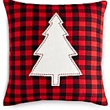 Holiday Lane 16x16 Check Pillow With Christmas Tree Appliqué