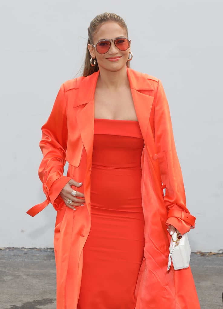 Allow your earrings to play up the wire rims of your sunglasses, especially when the outfit in question is all about those eye-catching accessories. Jennifer Lopez pulled off the look in monochrome orange.