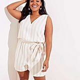 LOFT Striped Double V Romper