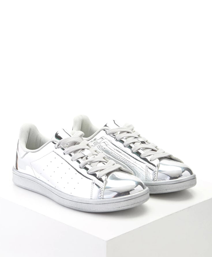 reputable site ec05b 0e04d Forever 21 Metallic Lace-Up Sneakers