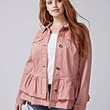 Lane Bryant Double Ruffle Denim Jacket