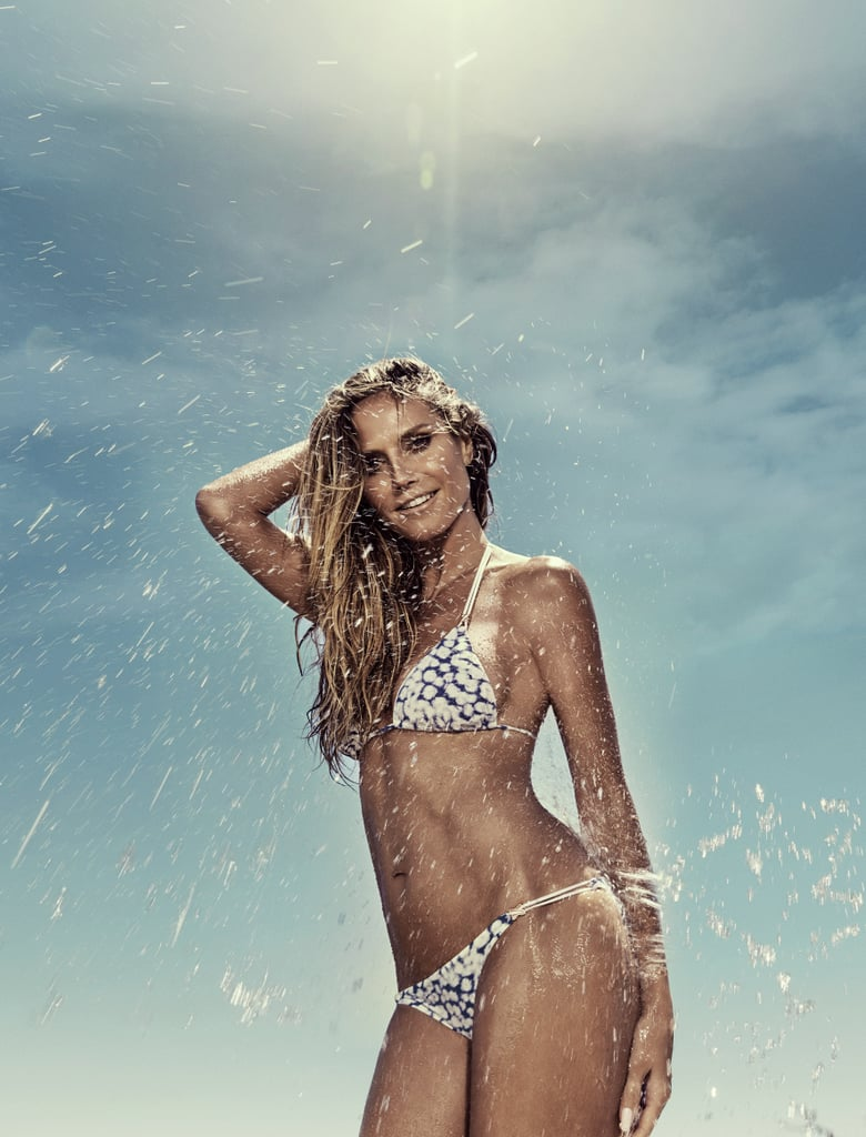 POPSUGAR Australia: What is your go-to bikini style? Heidi Klum: I love the triangle bikini, it's a classic! I like the simplicity and ease of them but love when they are in a bold print. I'm not a fan of crazy tan lines and lots of straps, just give me enough fabric to cover the important bits and I'm happy!  PS: What is your favourite swimsuit from the collection? HK: The Majestic Shimmer is one of my favourites. The fabric we used for this range is super soft and designed to sculpt and flatter everybody. There are a range of styles for women who are looking for different needs in their swimsuits. We have the classic triangle bikini with gold detailing for an added touch of glamour, a bralette top with embellishments along the neckline, and a sexy one-piece with an eyelet lace up plunging neckline. The bralette top gives bigger breasted women support that they wouldn't have in the triangle top. Not all women are comfortable in a bikini or even a tankini, so the super sexy one-piece is a great option! These pieces all come in a beautiful soft maroon shade that has a shimmer to it.