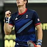 Andy Murray celebrated after defeating Finland's Jarkko Nieminen.