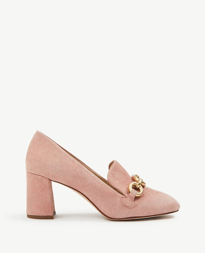 Ann Taylor Cordelia Suede Chained Loafer Pumps
