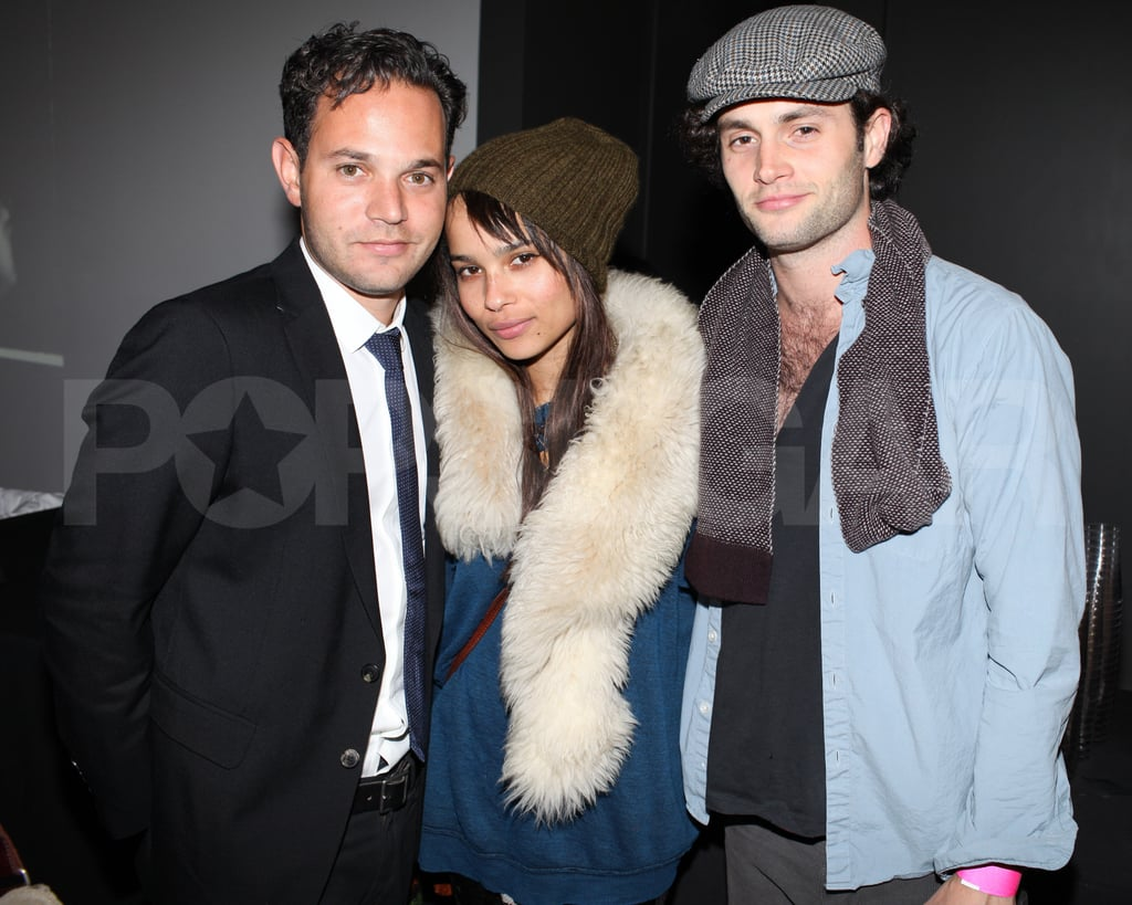 Zoe Kravitz posed with Penn Badgley and artist Aaron Stern.