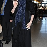 Jessica Chastain waved to cameras as she made her way through LAX on Monday.