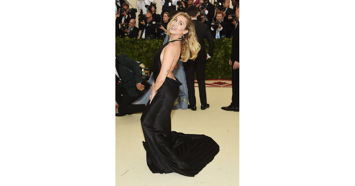 Miley Cyrus Wearing Black Dress 2018 Met Gala Popsugar
