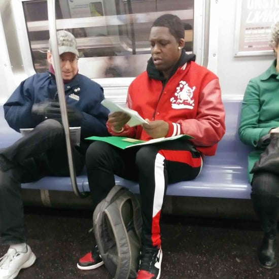 Dad Asks For Help With Son's Math Homework on the Subway