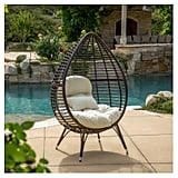 Cutter Teardrop Wicker Patio Lounge Chair With Cushion