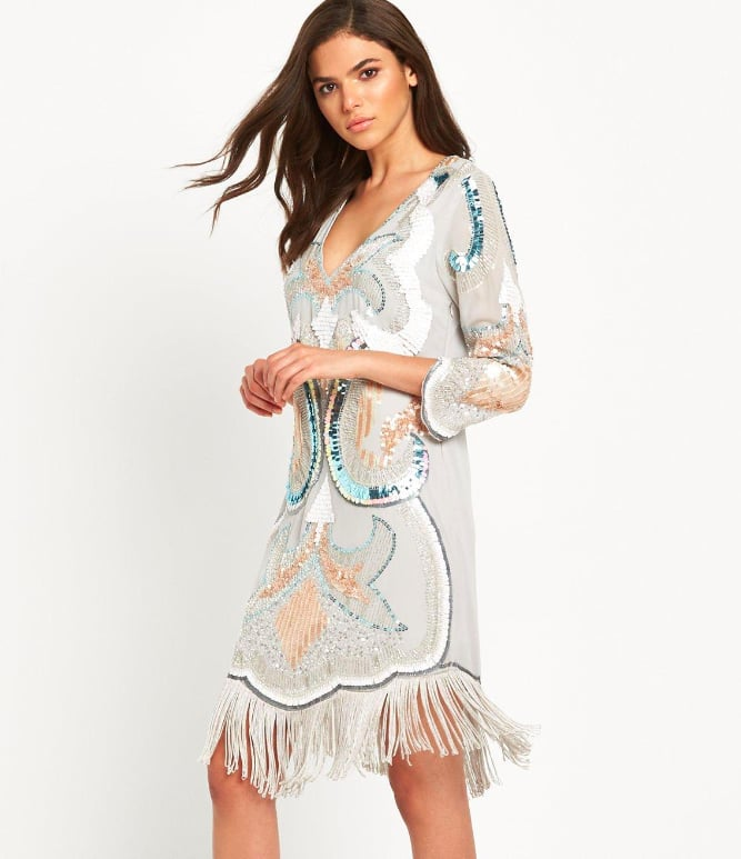Maya Embellished Plunge Front Tassel Dress (£130)
