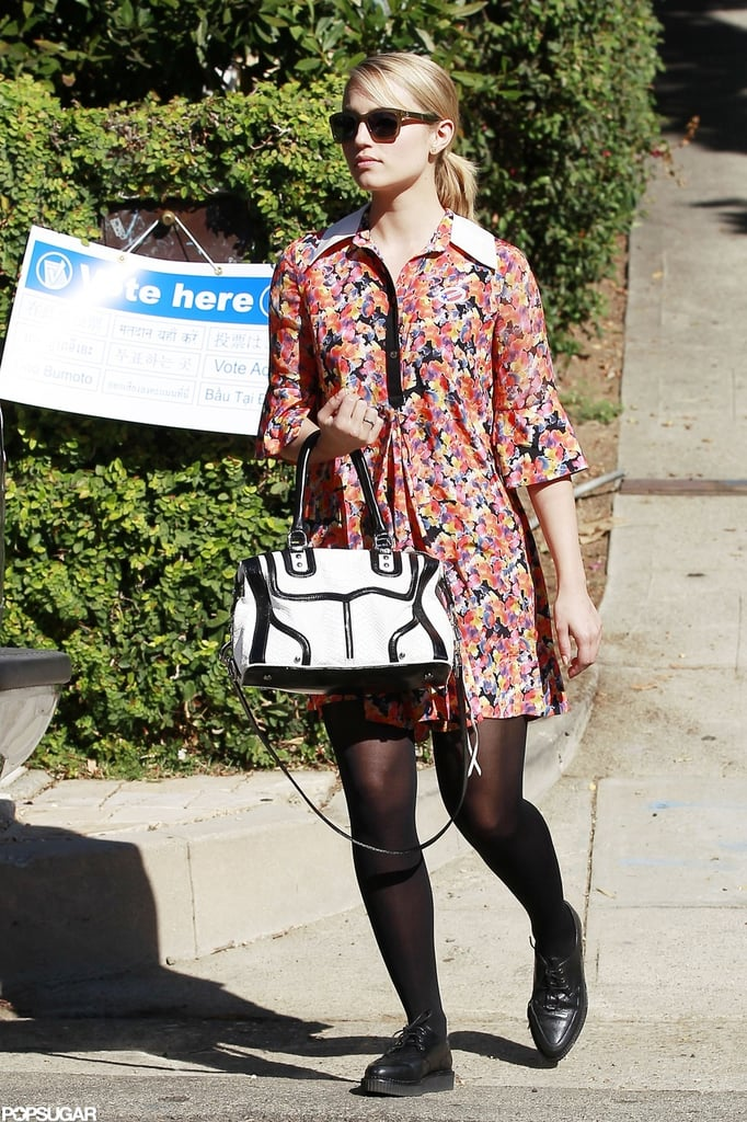 "Dianna Agron's ""I Voted"" pin was camouflaged by her floral dress as she left her voting poll in LA."