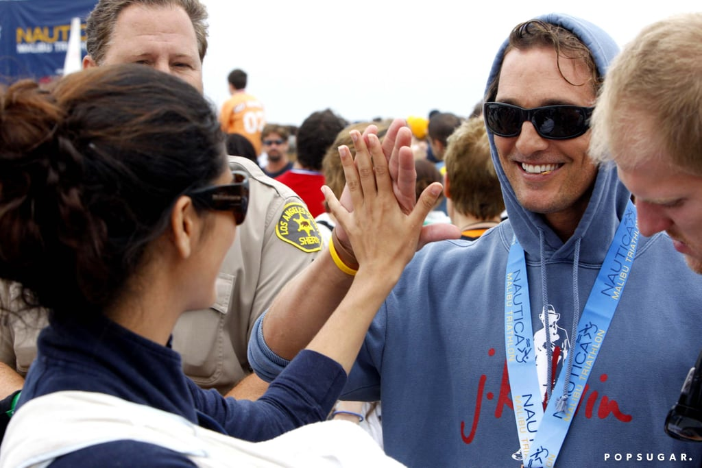 Camila Alves gave Matthew McConaughey one up high during the September 2008 Malibu Triathlon.