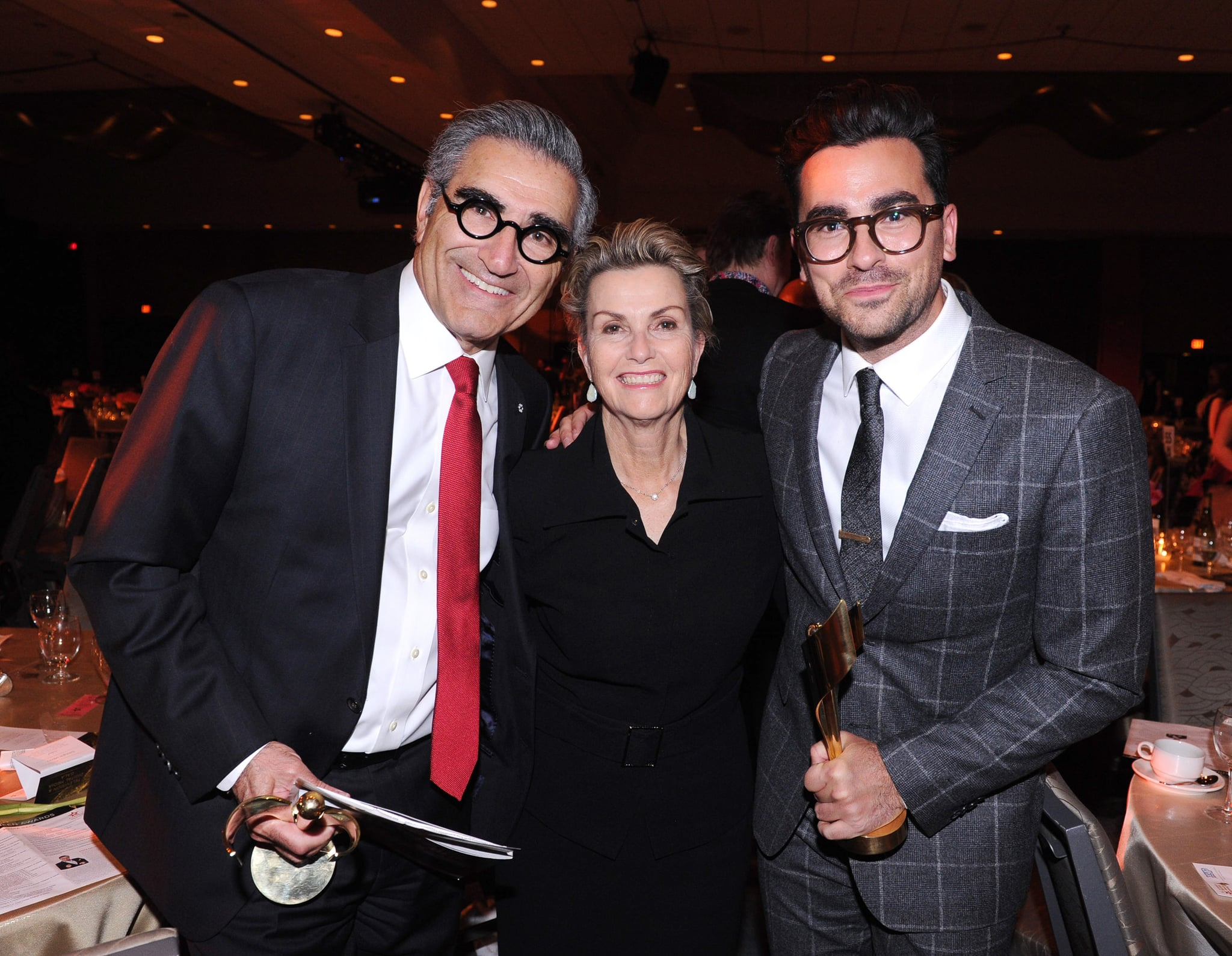 TORONTO, ON - MARCH 09:  (L-R) Actor Eugene Levy, Deborah Divine Levy and actor Daniel Levy attend the Canadian Screen Awards at Westin Harbour Castle Hotel on March 9, 2016 in Toronto, Canada.  (Photo by George Pimentel/Getty Images)
