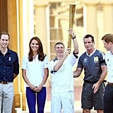 The Olympic flame made its way through London before it was set to arrive at the Olympic Stadium.