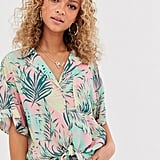 ASOS Design Tropical Print Short Sleeve Crinkle Shirt