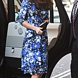 The duchess completed her graphic-print dress with a pair of tall black pumps.