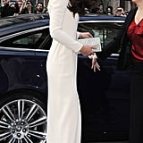 Kate teamed her Roland Mouret dress with a diamante clutch.