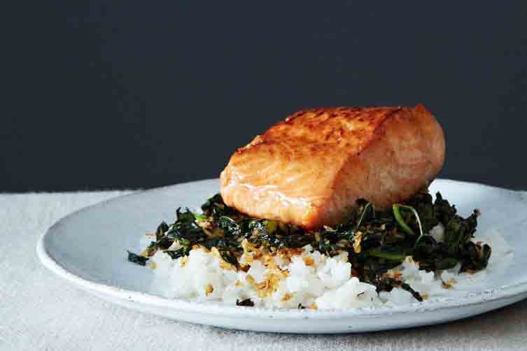 Crispy Coconut Kale With Salmon and Rice