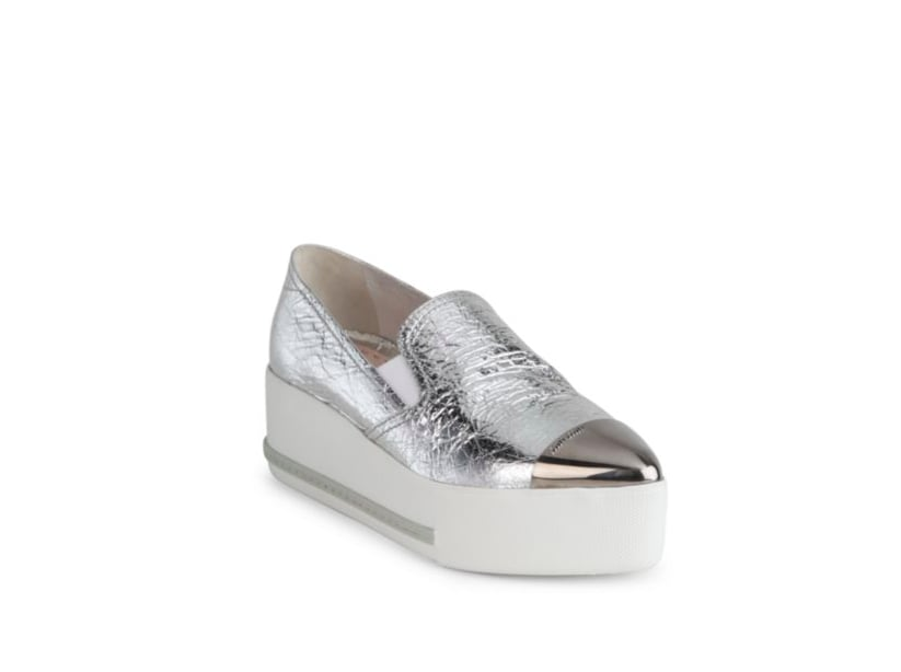 Metallic leather platform sneakers Miu Miu ivPRPs8x