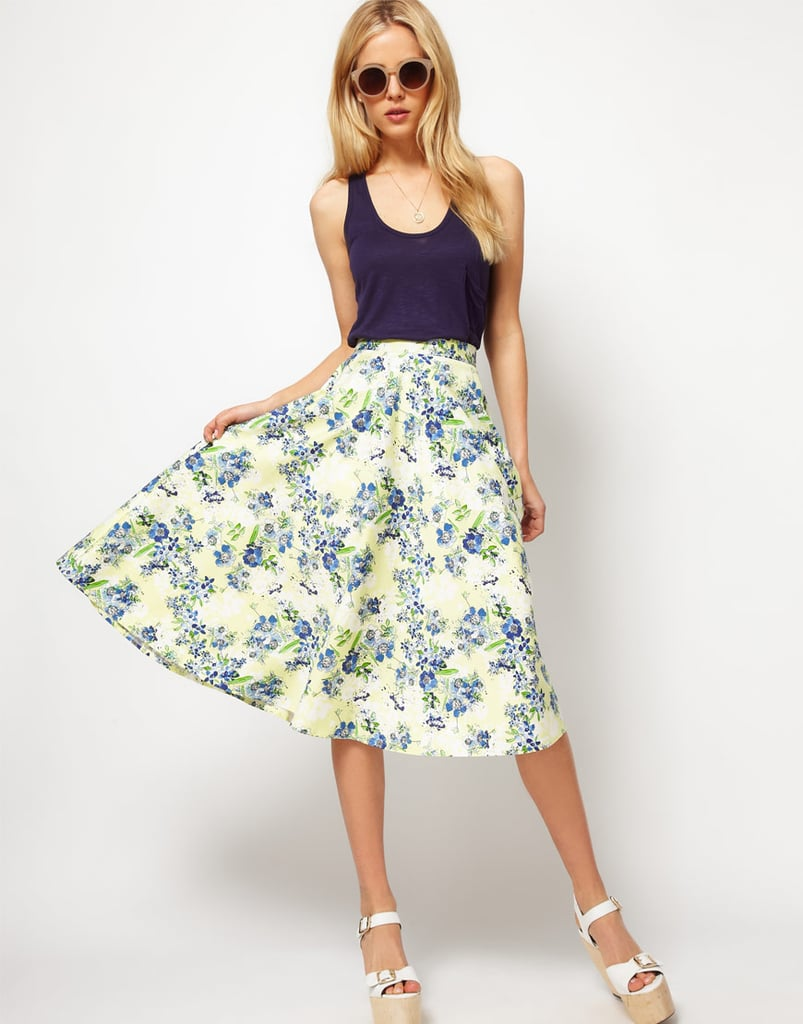 Just add a tee or tank to this floral-print midi for no-fuss albeit feminine dressing.  Asos Midi Skirt in Floral Print ($66)