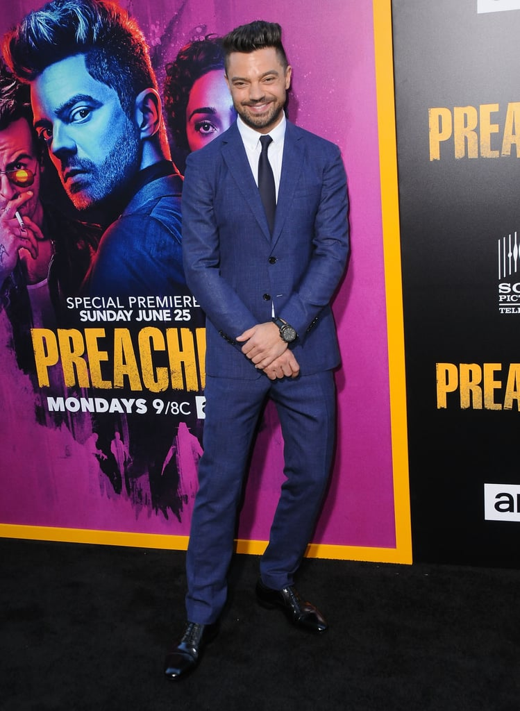 Rejoice! Preacher returns to Amazon Prime for season two this month, and with it returns a certain Mr Dominic Cooper to our screens. The British star hit the red carpet on Tuesday to celebrate the season premiere alongside his comic book costars Joe Gilgun and Ruth Negga, the latter of whom he's romanced both on and off screen. Sporting a suave suit, relaxed posture, and knowing smile, Cooper could convert us all. We'll be religiously watching.