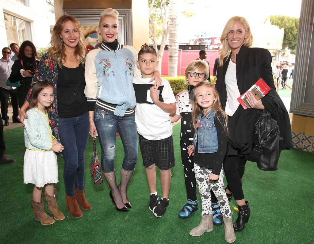 Talk about a family affair! On Saturday, Gwen Stefani attended the LA premiere of Angry Birds with her two sons, Kingston and Zuma Rossdale, and niece Stella Stefani, in tow. While the singer — who was on hand to support boyfriend Blake Shelton — skipped the red carpet, she did take to Snapchat to share photos from the event, including a snap of Blake posing with the animated movie characters and a selfie of her and Kingston inside the movie theater. This is just the latest we've seen of the star since she popped up at the Radio Disney Music Awards, though she did recently join James Corden for an epic Carpool Karaoke session with none other than George Clooney and Julia Roberts. Read on for more photos, and then see what Gwen had to say about Blake helping her get through her dramatic year.
