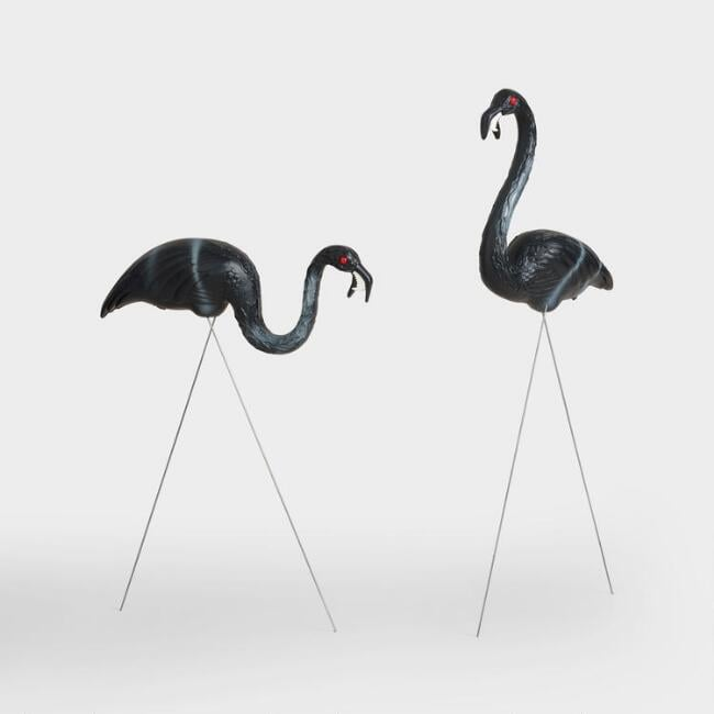 2-Pack of Black Zombie Flamingo Lawn Ornaments ($25)