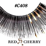 Red Cherry Eyelashes With Gold Tinsel C408