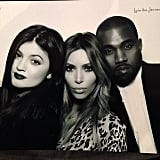 Kanye West popped into a Kardashian Christmas shot. Source: Instagram user kimkardashian