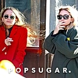 Mary-Kate and Ashley Olsen Wearing Red and Green Coats