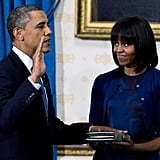 Being sworn in for the second time with Michelle Obama in 2013.
