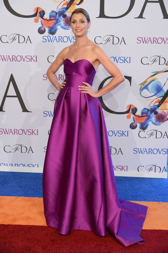 Bridget Moynahan wore a strapless purple gown.