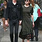 Dakota Johnson walked around with her boyfriend, Matthew Hitt, in NYC on Wednesday, the day before the Fifty Shades of Grey trailer was released.