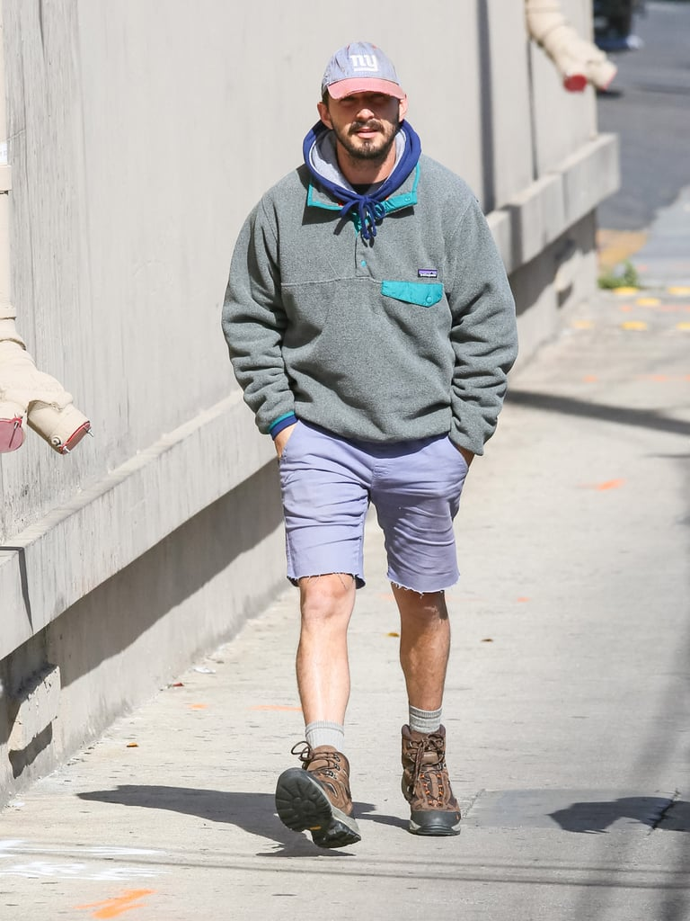Yes, you can totally get away with wearing lavender shorts when styled with a New York Yankees hat and Patagonia fleece.
