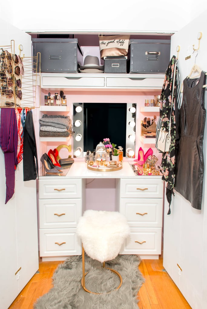 How an Apartment-Dweller Turned Her Small Closet Into a Glam Station