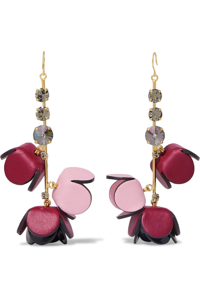 Marni Gold-Tone, Leather, Crystal, and Resin Earrings