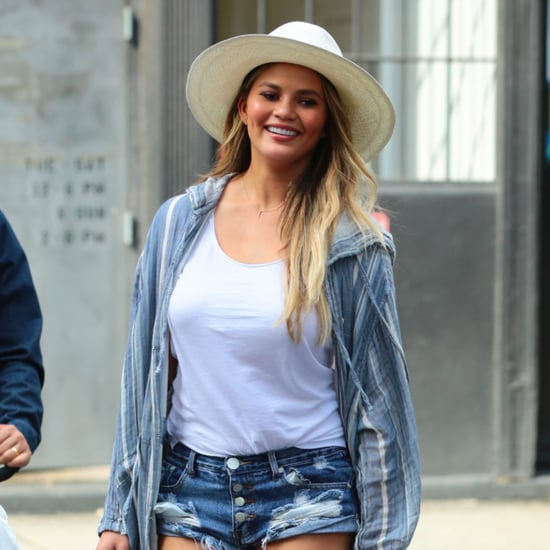 Chrissy Teigen Wearing Denim Shorts May 2016