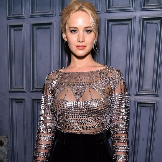 Jennifer Lawrence Wearing Sheer Silver Top