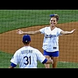 Swimsuit Model Chrissy Teigen First Pitch at Dodgers 8-5-14