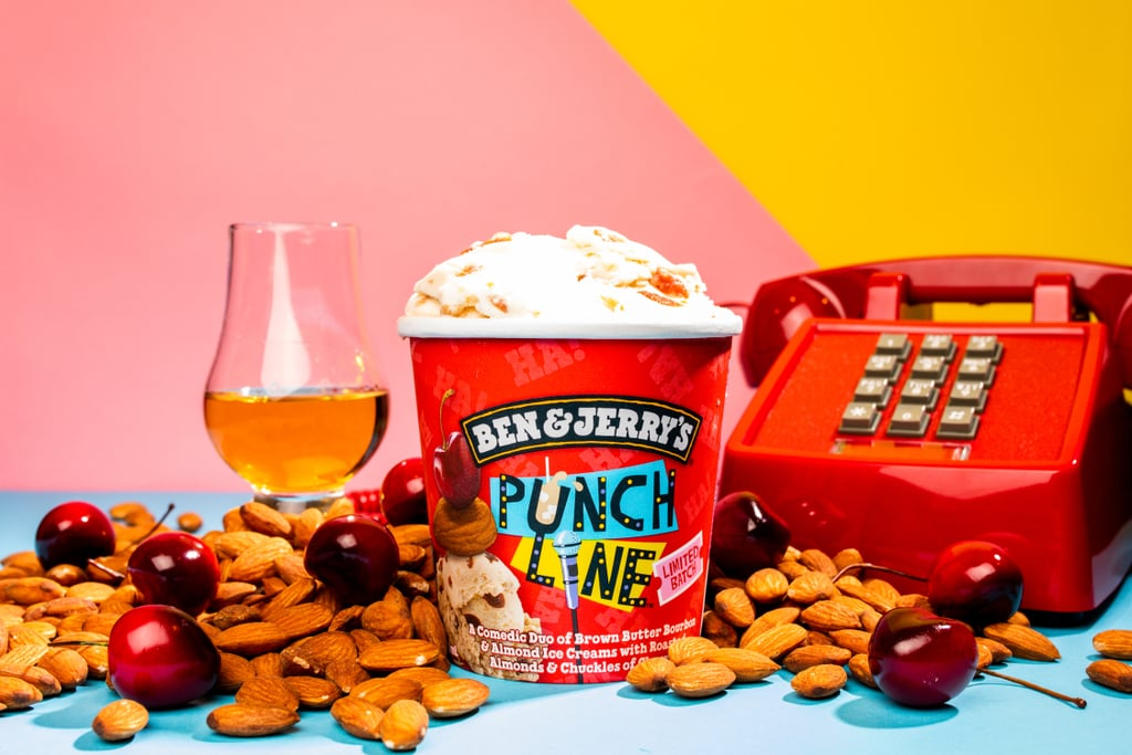 The newest Ben & Jerry's flavor might be all about comedy, but its decadent ingredients are no laughing matter. As part of an ongoing partnership with Netflix, the ice cream company just introduced its Punch Line pint featuring brown-butter bourbon and almond ice cream with roasted almonds and a chuckle of cherries sprinkled in. (Get it?) To celebrate, Ben & Jerry's and Netflix created a hotline — 1-866-PUNCHLINE — where callers can hear jokes from Wanda Sykes, Fortune Feimster, and Aparna Nancherla. Plus, some lucky callers might also score a free pint of the flavor, which, by the way, is available in grocery stores and Scoop Shops for a limited time only. Scroll through photos of the mouthwatering addition ahead.      Related:                                                                                                           New Trader Joe's Gingerbread Cream Liqueur Is Made With Vodka and Has 14.75% ABV