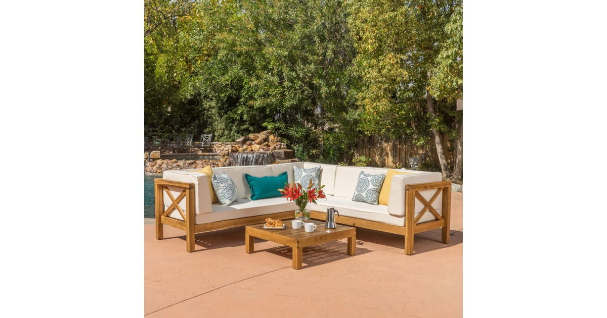 Marquez 4-Piece Wooden Sectional Set With Beige Cushions ...