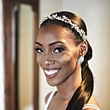 Tight Ponytail With Flower and Diamond Halo
