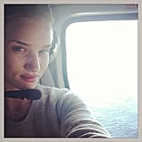 """Rosie Huntington-Whiteley was prepared for liftoff and """"chopper time"""" during a helicopter ride.  Source: Instagram user rosiehw"""