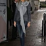 Gwyneth Paltrow Wearing a Blazer and Scarf