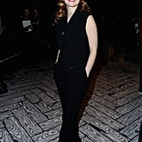 Jessica Chastain wore an all black Viktor & Rolf jumpsuit to Viktor & Rolf's front row on Saturday.