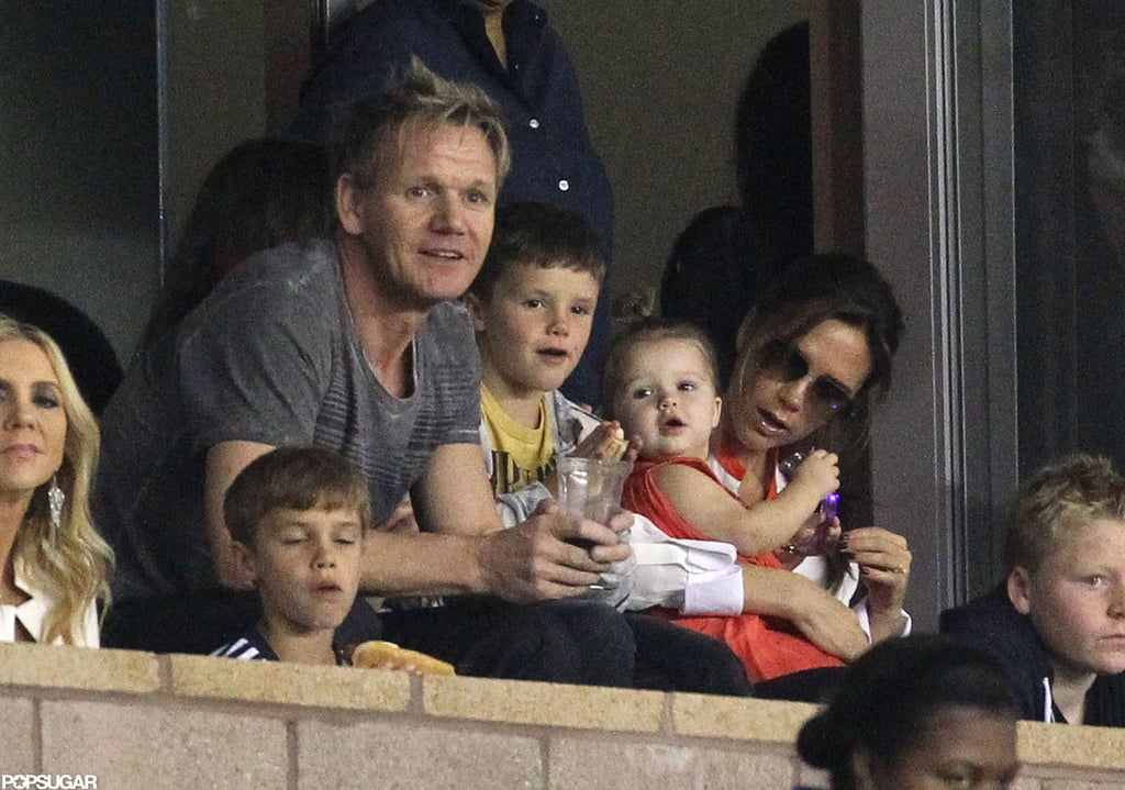 Gordon Ramsay joined Victoria Beckham, Harper, Romeo, and Cruz to watch the LA Galaxy play in LA at the end of October 2012.