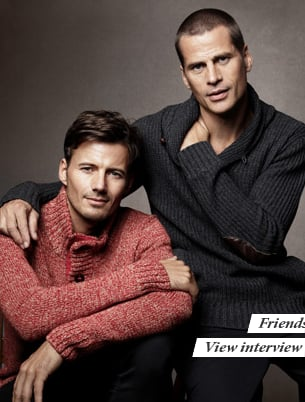 Mark and Alex pose so well together in their cozy sweaters.