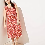 LOFT Plus Floral Ruffle Midi Wrap Dress