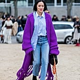 Drape Yourself in an Oversize Purple Cardigan